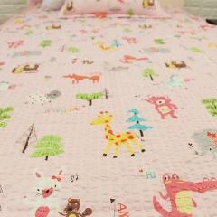 韩国 &story 小动物粉色儿童秋冬床品三件套 儿童床垫