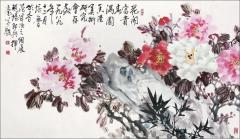 崔培鲁 花开富贵春满园 镜心67×117cm
