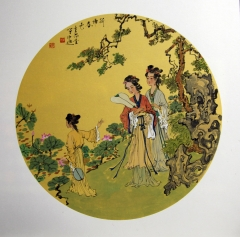 单永进 团扇人物  50x50cm (1)