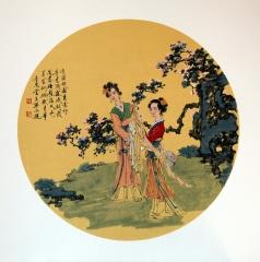 单永进 团扇人物  50x50cm (3)