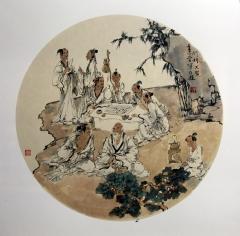单永进 团扇人物  50x50cm (5)