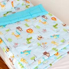 韩国&story 套装 纯棉小动物三件套 儿童被 蓝色