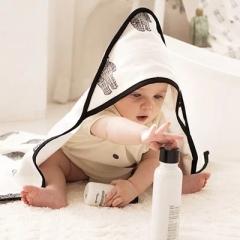 韩国正品DONO&DONO多乐双面可用新生儿带帽斗篷浴巾包被透气1条装 佐罗猫