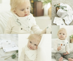 韩国原装进口DONO&DONO婴幼儿新生儿纯棉薄纱口水巾围巾手帕3条装