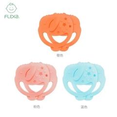 韩国FLEXA婴儿大象背带牙胶磨牙棒宝宝无毒硅胶玩具(橙色)